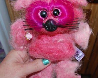 Super soft 100% Suri Alpaca needle felted Kitty Kitten OOAK Hand Made teddy Collectible Gift Idea, long lashes