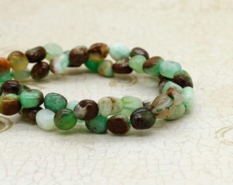 Chrysoprase Irregular Shape Smooth Gemstone Beads Beads