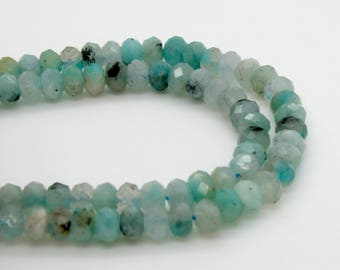Natural Aquamarine Faceted Rondelle 4mm x 6mm Loose Gemstone Beads Stone Rock - Full Strand