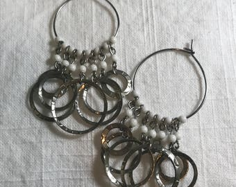 Vintage silver-tone and white beaded circle earrings