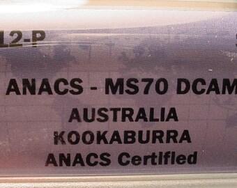 Australia Kookaburra  2012-P MS-70 DCAM Deep Cameo Also 1 Oz of 999 Silver<>ETB4919