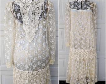 Vintage Cream Lace Full-length Wedding Dress || 70's Boho Hippie Wedding Dress || Long Sleeve Lace Maxi | 60's Lace Turtle Neck Dress, LARGE
