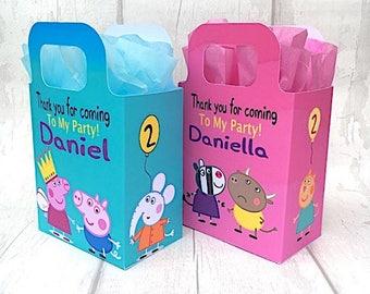 Peppa Pig  Birthday Party Bag Box Personalised x 1