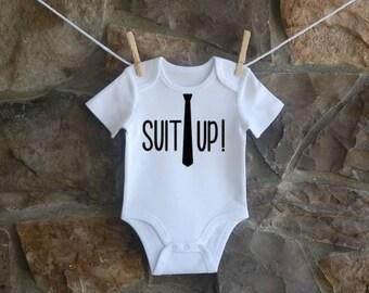 Suit Up Custom Onesie, How I Met Your Mother, Barney Stinson, Baby Shower, Baby Boy, Baby Gift, Sitcom Onesie