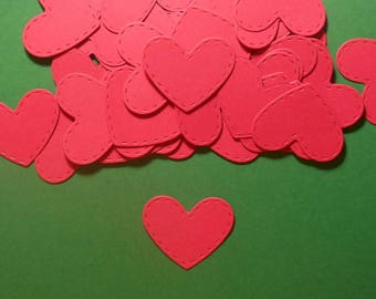 "50 Embossed Stitch Heart Die Cuts - 1 3/8"" x 1 1/8"" - Red Cardstock Paper Hearts - Scrapbooking Embellishments - Card Making"