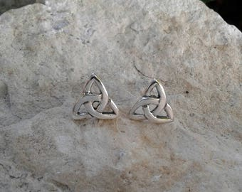 Celtic Earrings, Solid Sterling Silver Celtic Triquetra Stud Earrings, Celtic Jewelry