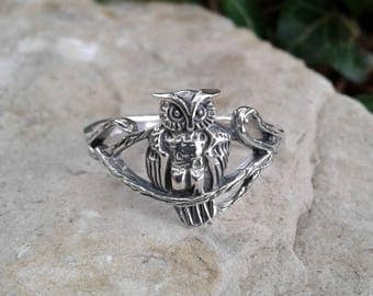 Owl Ring, Solid Sterling Silver Owl On A Branch Ring, Owl Jewelry