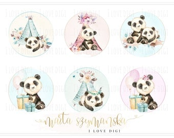 Sweet watercolour pandas, digital collage sheet, instant download, pastel digital stamp set, tags, labels