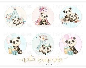 Sweet watercolour pandas, digital collage sheet, instant download, pastel digital stamp set, tags, labels