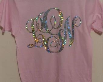 Monogram T Shirt, Monogram Tee Shirt, Holographic Tee Shirt, Shiny Tee Shirt, Shiny Letters, Silver Letters,  Family Tee Shirt, Fun T Shirt