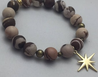 Earthtone Beaded Gemstone Bracelet with Charm