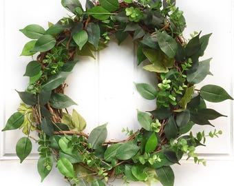 Ficus Leaf + Eucalyptus | Greenery Wreath | Grapevine Wreath | Front Door Wreath