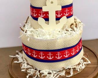 Nautical Theme Diaper Cake - Two Tier Diaper Cake - Baby Shower Decor