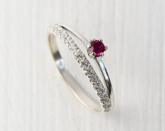 Ruby ring, Dainty ring, Fine ring, Engagement ring, Promise ring, Silver ring for her, Personalized ring, Pink stone ring, Pretty ring