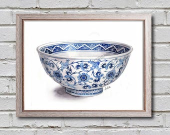 Blue and white bowl print, teapot painting, Japanese art print
