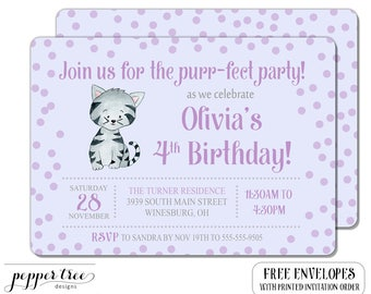 Kitten Birthday Invitation for Birthday - Birthday Party Invite - Cat Invitation - Birthday  - First Birthday Purr-fect Party