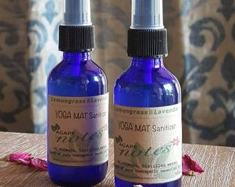 YOGA Mat SANITIZER • Natural Spray Sanitizer • Travel Size Mist • Gym Germ Killer • Meditative Helper • Yoga Aromatherapy