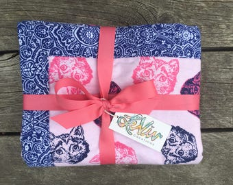 Cat flannel blanket with trim for baby or child, soft and cuddly blanket, funky cat head blanket, pink and navy cats, baby girl nursery