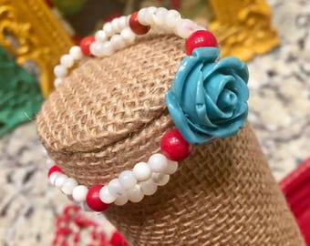 Turquoise rose and red & white stretch bracelet