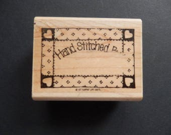 Retired Stampin Up - Hand Stitched By - Sewn with Love  - WM Rubber Stamp (1 )