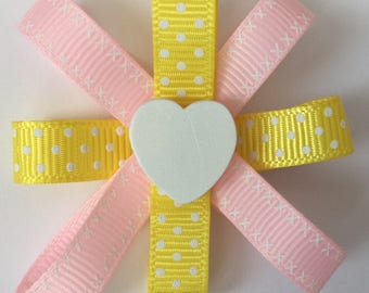 Yellow and pink hair clips - heart hair clips - ribbon hair clips - summer hair clips - hair clips set - yellow ribbon clips