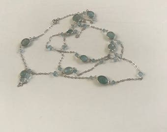 Rope necklace with aquamarines, on silver