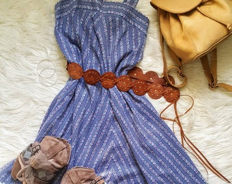 Prairie Swing dress. Vintage 80s prairie country style bohemian dress size L