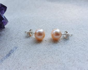 Freshwater Pearl 7.5mm/0.24inch AAA Pastel Orange / Silver Sterling Studs Round Orange Pastel SPARKLE Silver 925 beautiful fresh water Pearl button