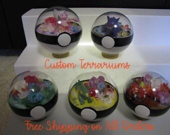 FREE SHIPPING* Custom Pokeball Terrariums