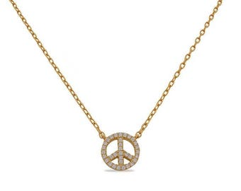 SALE Silver Peace Necklace, Peace Symbol, Peace Sign, 925 Sterling Silver, Yellow, White, Rhodium Plated, 18 inches