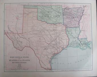 1882- Antique Texas & West Central States Harper's Map- Lovely 135 year old, vintage map of Texas and West Central States
