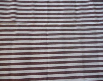 Fabric white and Brown ticking stripe cotton