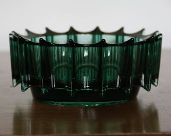 Retro Glass Bowl Of Interesting Design, Geometric And Space Age 1970s, Excellent Condition Dish