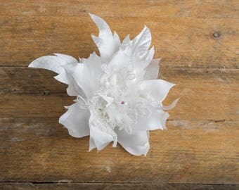 white fabric Narcissus, organza, Real Touch Flowers, Floral belt, headband corsage hand made, bridal, wedding evening satin haute couture