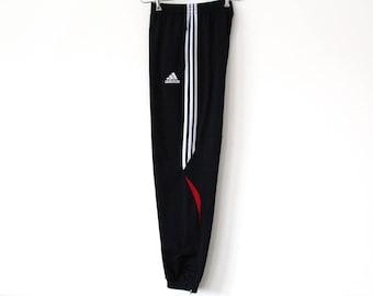 Vintage 90's Adidas Pants, Adidas Running Pants, Adidas Track Bottoms, Black Red Adidas Track Pants, Adidas Sport Pants, Large Jogging Pants
