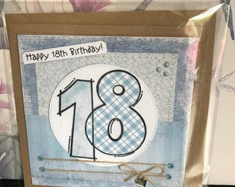 Handmade hand-stitched 18th birthday card