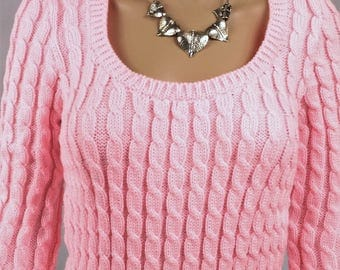 Women sweater, Wool Sweater, pullover, pink sweater, cable knit sweater, sexy sweater chic sweater, Wool Sweater