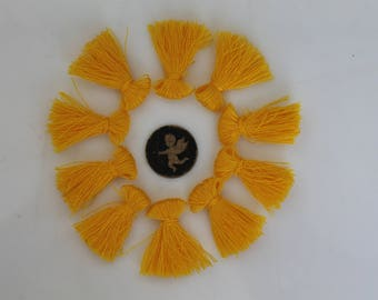 10 charms yellow PomPoms Buttercup 25 mm - fringe - jewelry - bracelet - handmade