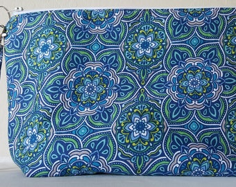 Blue flower Large zip clutch