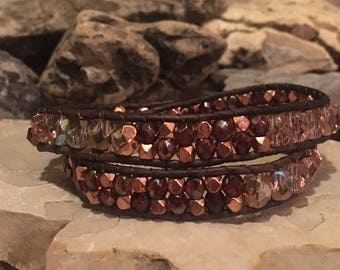 Copper and glass bead wrap bracelet