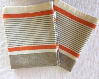 100% Cotton kitchen towels cream-light brown-orange stripe