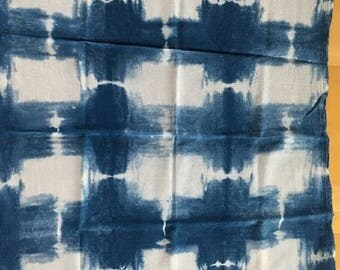 Indigo Blue and White Flour sack Kitchen Towel - Squares