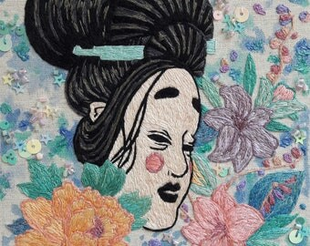 embroidery japanese geisha