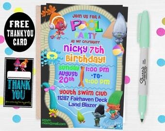 Trolls invitations, Trolls Birthday Invitation, Trolls Party,Troll Party Ideas, Trolls Birthday Party Card, Trolls invite, POOL PARTY TROLLS