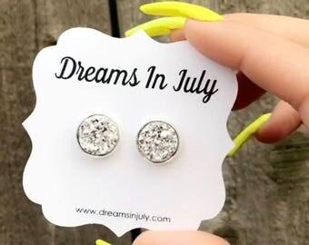 Silver Earrings, Bridesmaid Earrings, Wedding, Bridesmaid Jewelry, Silver studs, Silver Stud Earrings, Bridal Earrings, Wedding Studs,12MM