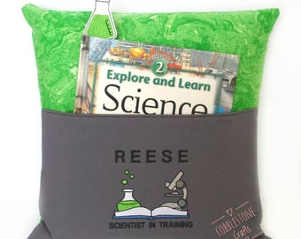 Science Pocket Pillow - Scientist In Training - Personalized Reading Pillow