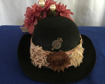 "Steampunk ladies bowler hat named ""The Mary Poppins Hat"" for steampunk, costume, Halloween, Burning Man, cosplay"