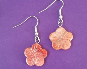 Sea Shell Coral Flower Dangle Earrings