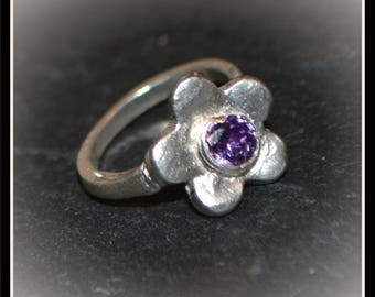 Silver Flower CZ Ring - Silver Precious Metal Clay (PMC), Handmade, Ring - (Product Code: ACM097-17)