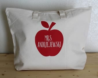 Personalized Teacher Apple Canvas Tote Bag